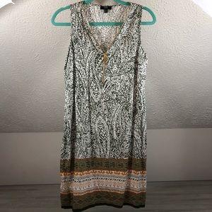 MSK Petite gold zipper patterned dress